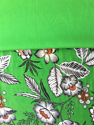 Floral Viscose Fabric, Green Flowers with matching plain Contrast Fabric