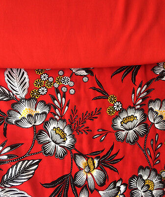 Floral Viscose Fabric, Red Flowers with matching plain Contrast Fabric