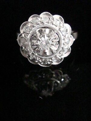 Art Deco French 18Ct White Gold Platinum Old Cut Diamond Target Cluster Ring