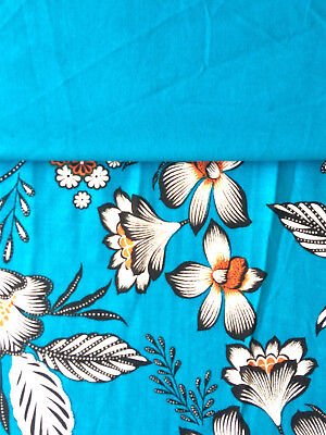 Floral Viscose Fabric, Turquoise Blue Flowers with matching plain Fabric
