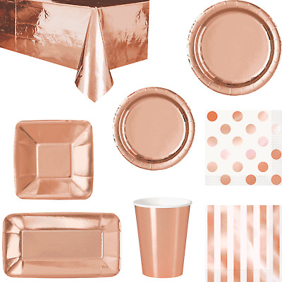 Rose Gold Foil Coloured Party Tableware Tablecover Appetiser Plates Cups Napkins