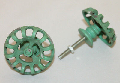 NEW Distressed Metal Faucet Valve Handle Cabinet Door Knob Steampunk Green set 2
