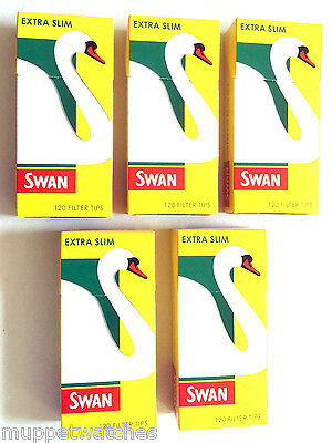5 x SWAN EXTRA SLIM FILTER TIPS 5mm PRE-CUT ROLLING CIGARETTE TOBACCO TIP
