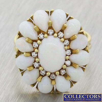 Vintage Estate 14k Yellow Gold 6.70ctw Pear Opal Round Diamond Cocktail Ring Y8