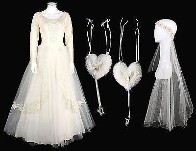 Vtg 1950s COUTURE Chantilly Lace Tulle Sequin Wedding Dress Veil Ring Pillows S