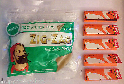 ZIG ZAG Bag 250 SLIM MENTHOL Filter Tips and 5 x SWAN LIQUORICE Rolling Papers
