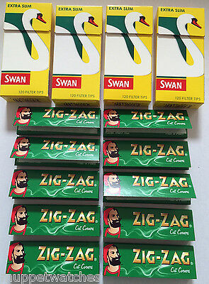 4 x SWAN EXTRA SLIM FILTER TIPS and 10 x GREEN ZIG ZAG CIGARETTE ROLLING PAPERS