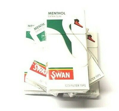 5 x SWAN MENTHOL EXTRA SLIM TIPS ROLL YOUR OWN CIGARETTE FILTER 5mm TIP