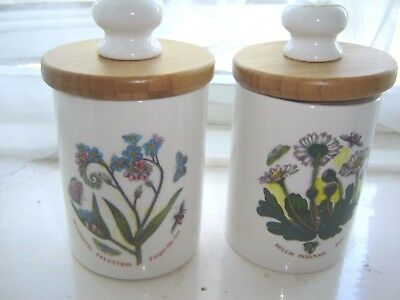 "Pair Of Portmeirion Botanic Garden 4.5"" High Storage Jars"