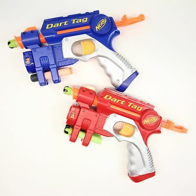 Lot of 2 Nerf N-Strike EX-3 Nite Finder Red and Blue Dart Gun Pistol with Darts