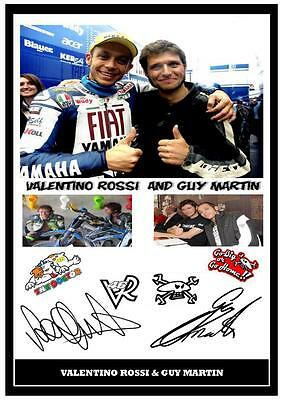 16.Valentino Rossi & Guy Martin Moto Gp-Superbikes Signed A4 Photograph .