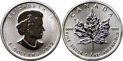 2012 $5 Canada .9999 Silver Maple Leaf 25 Count Original Mint Roll