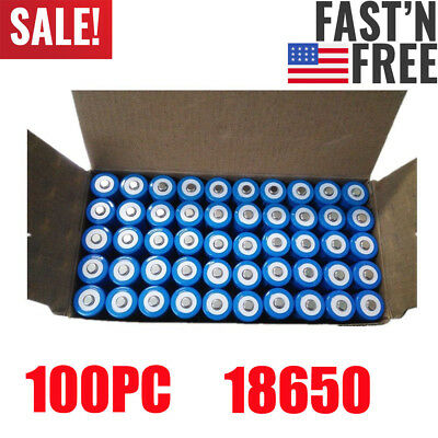 100PCS Li-ion 18650 Battery 3.7V BRC 3000mAH Rechargeable Batteries Lithium New
