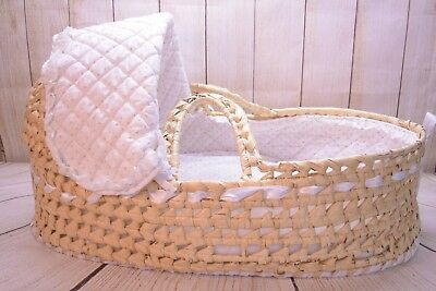 Badger Basket Natural Hoodie Moses Basket with White Pink Bedding