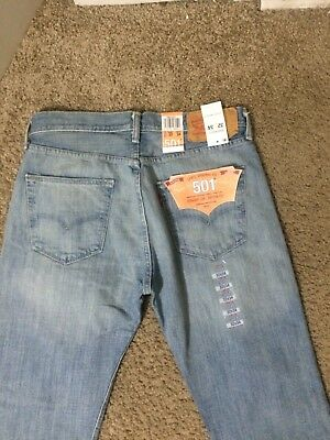 NWT Authentic Levis 501 Original Button Fly Blue Jeans (0537)