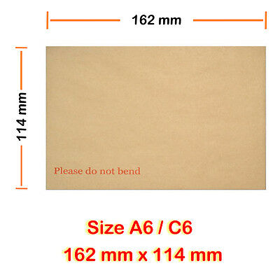 "Board Backed Envelopes C6 Size for A6 size items ""Please Do Not Bend"" Written"