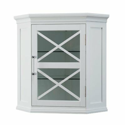 Blue Ridge Corner Wall Cabinet With Glass Door In White For Bathroom