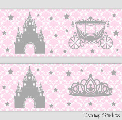 Pink Gray Nursery Wallpaper Border Princess Damask Wall Art Decal Stickers