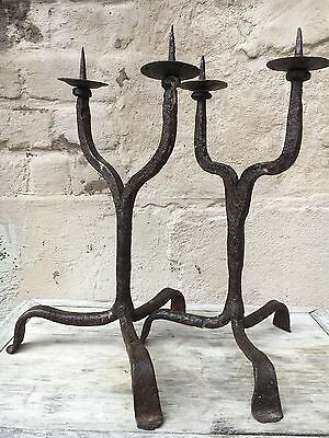 Beautiful Pair of Antique Medieval Style Wrought Iron Candlesticks