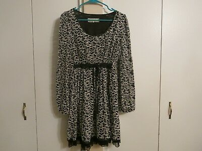 b32bfff190e A reve for Anthropologie black and white abstract floral scoop neck dress  size L