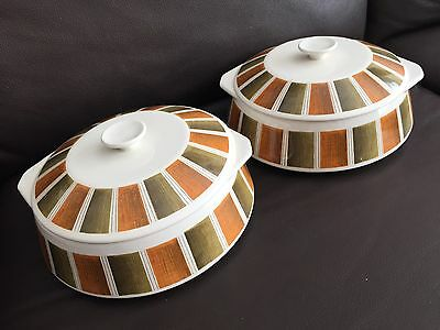 "Pair of Vintage (1960s) English Lord Nelson Pottery Pattern ""Bermuda"" Tureens."