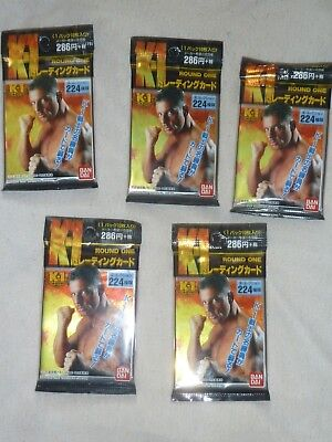 5 x Sealed packs of K-1 1997 Trading Cards Rare Topps Epoch Pride Glory UFC