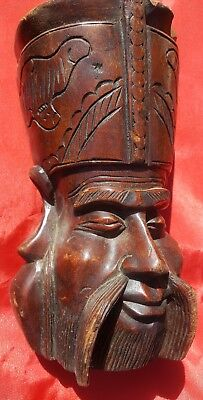 Vintage Chinese Hand Carved Wood Mask Happy Face
