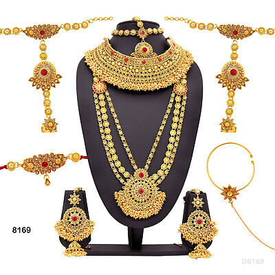 Bridal & Wedding Party Jewelry 10pcs Bridal Necklace Set Red Lct Gold Kundan Jodha Akbar Party Ramadhn Eid Jewelry & Watches