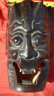 Vintage Atq Authentic Hand Carved Wood Japanese Demon Noh Mask