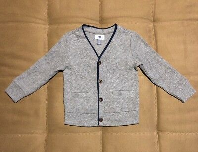 Old Navy Toddler Boy's Button Up Cardigan Sweater 3T Gray Navy Blue