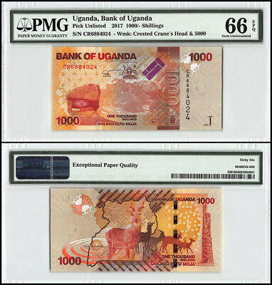 Uganda 1,000 - 1000 Shillings, 2017, P-NEW, Crested Cranes Head, Deer, PMG 66