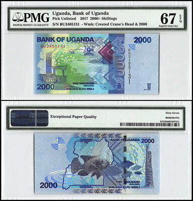 Uganda 2,000 (2000) Shillings, 2017, P-NEW, Crested Cranes Head, Fish, PMG 67
