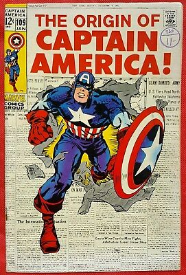 CAPTAIN AMERICA 109 Marvel Silver Age 1969 Origin retold of Captain America