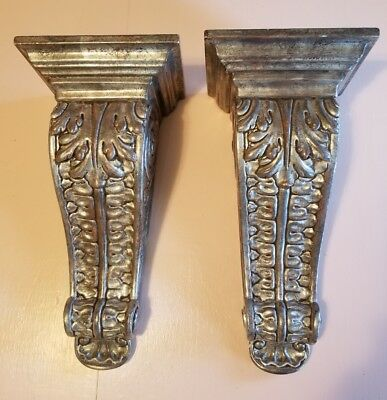 Vintage Pair of Italian Wood Corbel Bracket Decorative Shelf Chic Classic