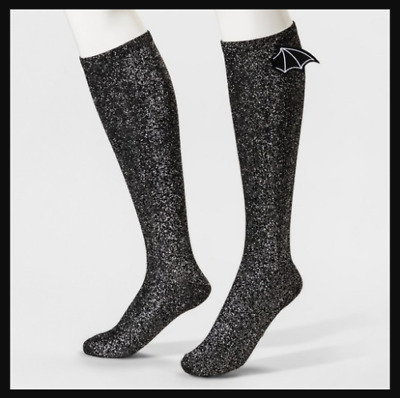 fd826072836 NWT Women s Bioworld 3D Bat Wings Knee High Socks Sparkle Glitter Sock Size  9-11