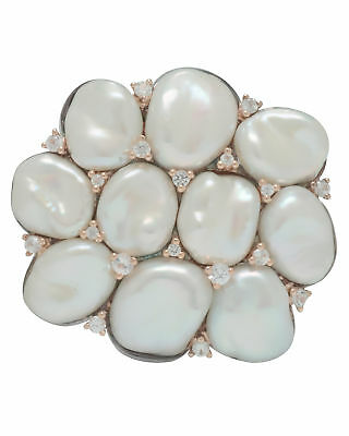 Mimi 18k Rose Gold and Sterling Silver Pearl and White Sapphire Brooch S297C1...