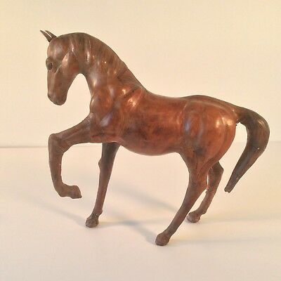 """Leather Wrapped Brown Horse Leather Ears Glass Eyes 11"""" Height"""