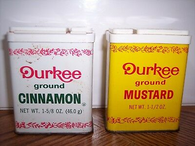 Vtg Durkee Ground Cinnamon & Ground Mustard Collectible Tin Containers Advertisi