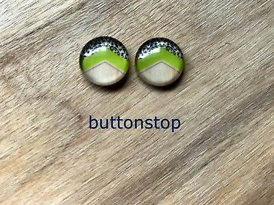 2 x 12mm glass dome cabochons - lime black white and woodgrain pattern