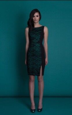 a11cdff7 NWT Black Halo Green Maicy Romantic Lace Dress 8 Sheath Fitted Party  Wedding NYE
