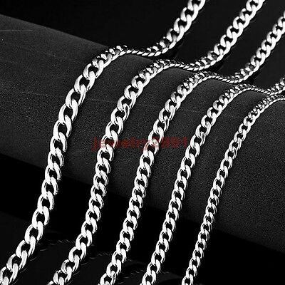 """16""""-40"""" Men Women's Silver Stainless Steel Figaro Chain Necklace 3-7mm Hot Sell"""