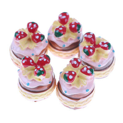 5pc Resin Strawberry Cake Miniature Cakes for Phone Decoration Crafts Scrapbook-