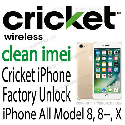 Cricket iPhone Unlock Service for iPhone Xs Xr X 8 8+ 8 Plus 7 7+ 6S 6S+ Xs Max