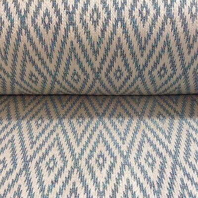 Eos Mineral Jacquard Ivory Sea Blue Curtain/Upholstery Fabric