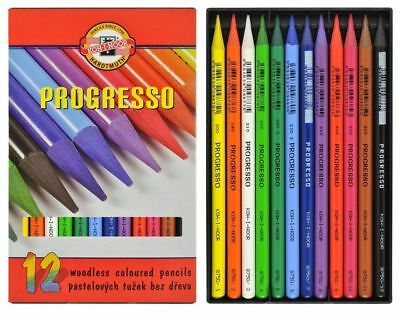 12 Koh I Noor  Coloured Progresso Blendable Woodless Colour Artist Pencils Art