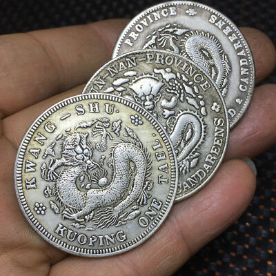 1.73in Rare China Ancient silver coin statue set 44mm 30g   1pcs t28