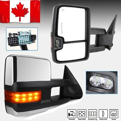 Tow Mirrors for 03-06 Chevy Silverado Sierra Power Heated Chrome Signal Backup