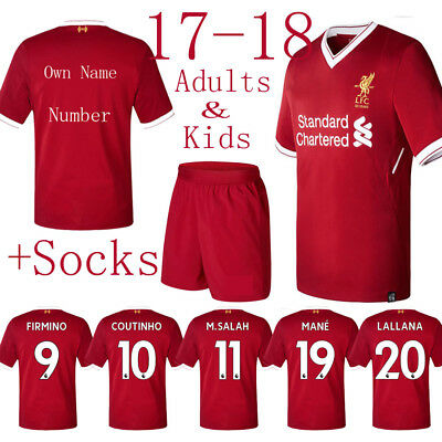 17-18 Football Suits Jerseys Red Short Sleeve Soccor T-Shirt For Kids Men 3-14Y