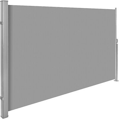 Garden side awning sunshade retractable windscreen windbreak alu grey