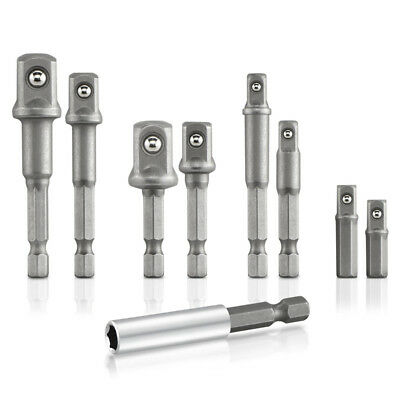 Hex Shank to Square Drive Socket Bit Bar Set, 9 Pieces 3/8, 1/2-inch Drive N9M4